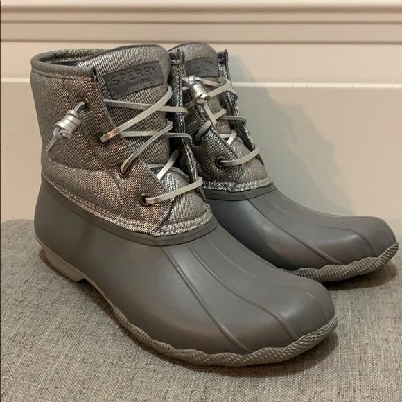 Metallic Silver Grey Sperry Duck Boots